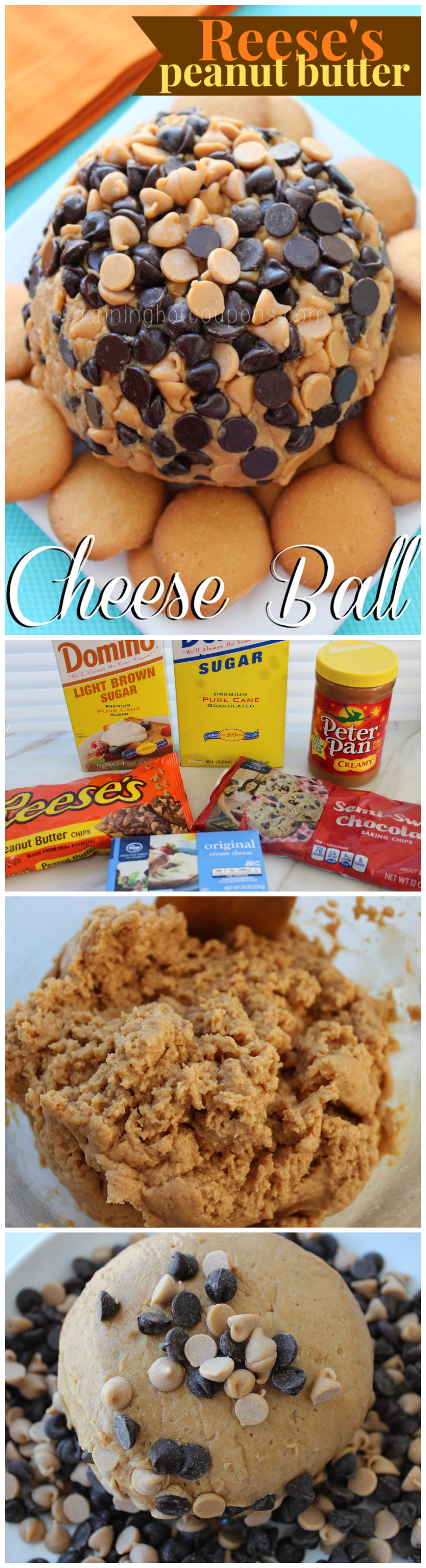 reeses cheese ball collage.png Reeses Peanut Butter Cheese Ball