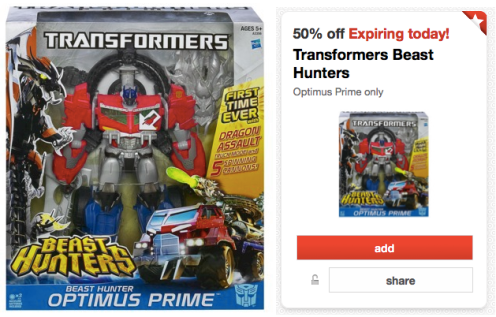 transformers *HOT* Target: 50% Off Transformers Beast Hunters Optimus Prime (TODAY ONLY!)