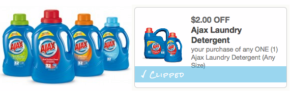a *HOT* $2/1 ANY Size Ajax Laundry Detergent Coupon = ONLY $0.50 A BOTTLE!