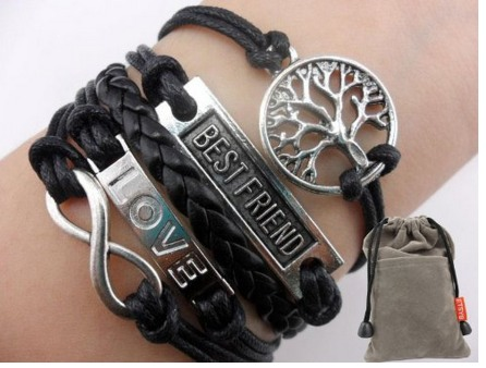 Infinity Silver Karma Wish Tree Best Friend Rope Leather Bracelet $1.66 + FREE Shipping!