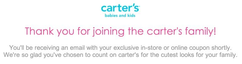 Exclusive Coupon and Offers from Carters and OshKosh Bgosh!