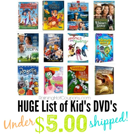 *HOT* HUGE List of Popular Kids DVDs Under $5 Shipped!