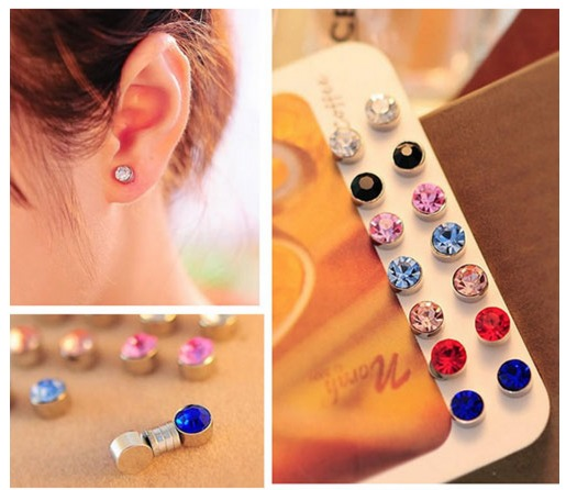 FREE Non Piercing Magnetic Magnet Swarovski Crystal Ear Stud Plug Earrings + FREE Shipping!