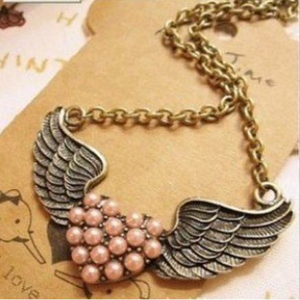 *HOT* Gorgeous Vintage Pink Heart Angel Wing Necklace Only $2.99 + FREE Shipping