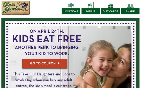 Olive Garden: FREE Kids Meal Coupon!