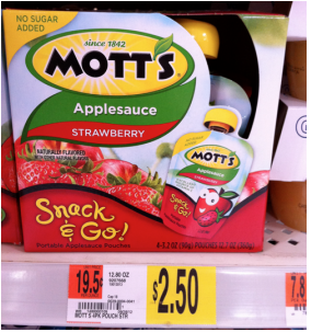 motts Buy 1 Get 1 FREE Mott's Snack & Go 4 Pack Applesauce Coupon = Only $1.25 at Walmart!