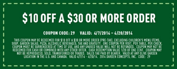 *HOT* Olive Garden: $10 off a $30 Purchase Coupon!