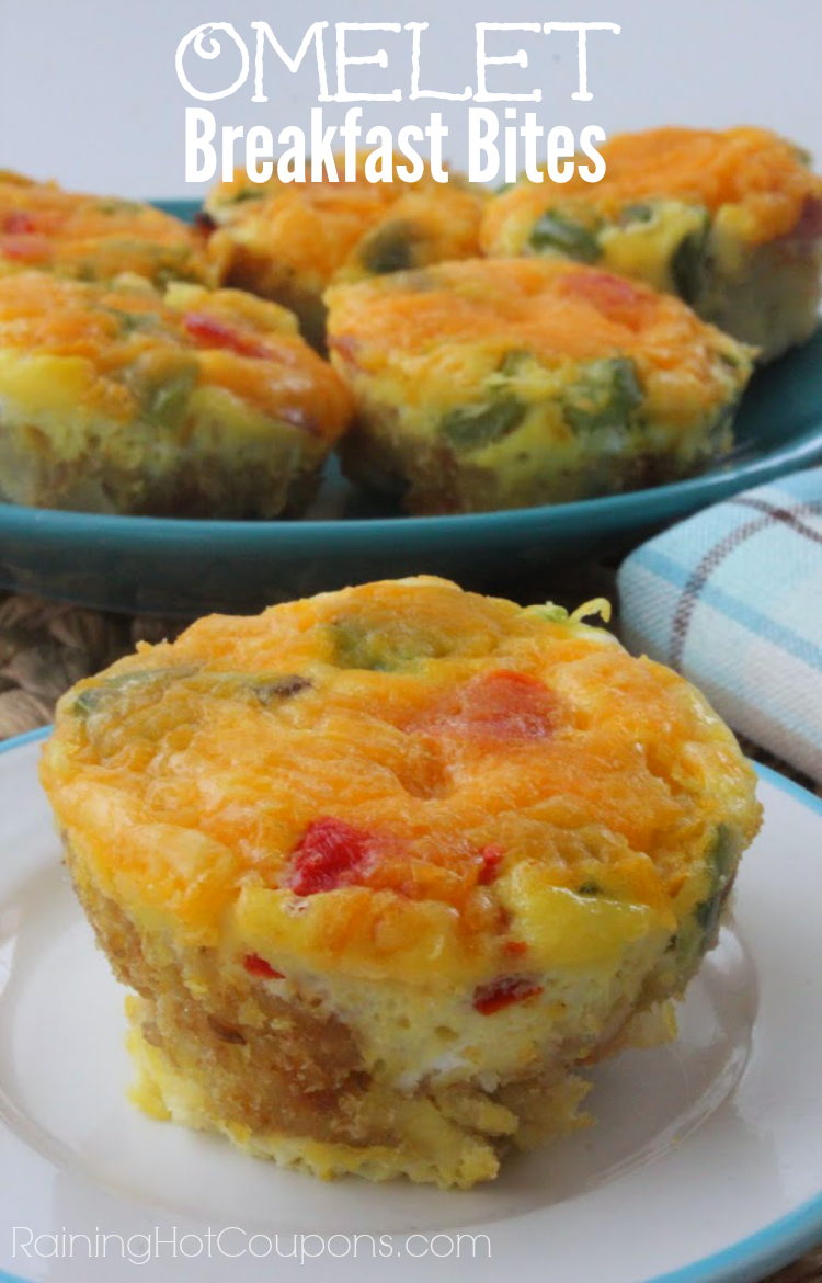 Omelet Breakfast Bites - these are so easy to make and you can make them the night before! My family LOVES them!