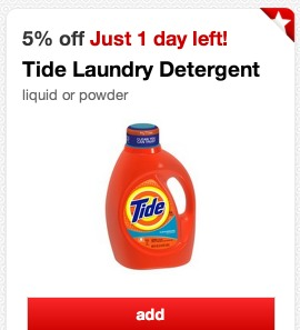 *HOT* Target: $5 Off a $20 Laundry Purchase Coupon LIVE = Tide Bottles Only $3.45 each!