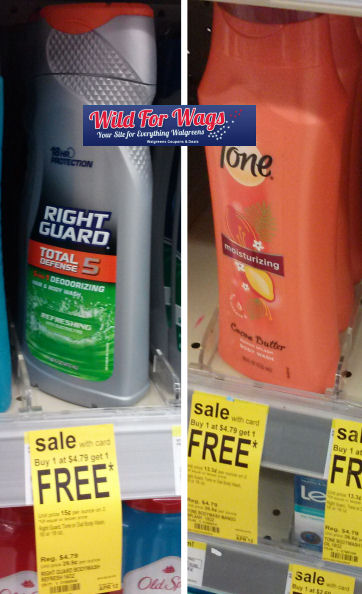 tone right guard5w Walgreens: Right Guard & Tone Body Washes Only $1.40