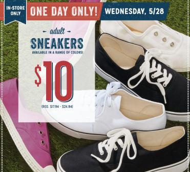 screen shot 2014 05 28 at 5 49 13 am Old Navy: $10 Adult Sneakers Today Only – Up to $24.94 Value (In Store Only)