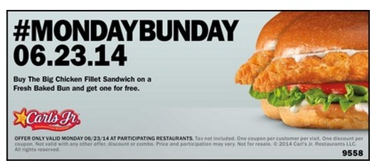Carls Jr Or Hardees: Buy 1 Big Chicken Fillet Sandwich and Get 1 FREE Coupon (TODAY ONLY!)