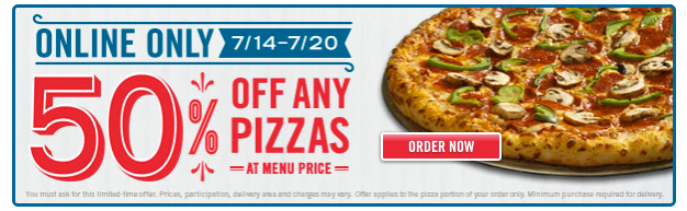pizz Dominos: *HOT* 50% off ANY Pizza!