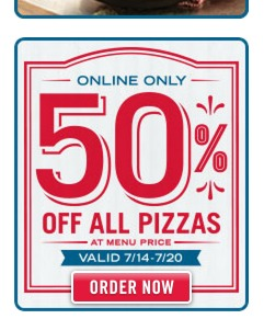 Dominos: *HOT* 50% off ANY Pizza!