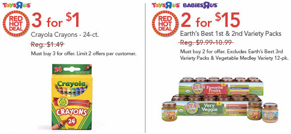 sale1 ToysRUs 1 Day Sale = Crayola Crayons Only $0.33 Per Pack & Much More + 80% Off Clearance!
