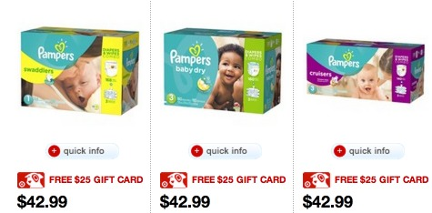 Target.com: FREE $25 Target Gift Card Pampers Diaper Combo Pack Purchase = AMAZING Deals!