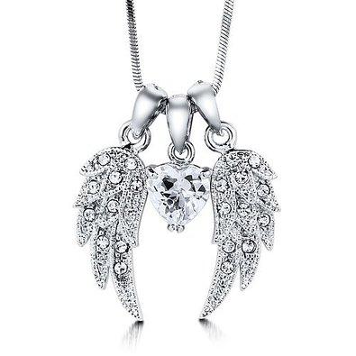 Silvertone Angel Wings w/ Heart CZ Cluster Necklace