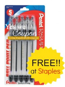 9uu58p 223x300 Staples: FREE R.S.V.P. Ball Point Pens After Easy Rebate, Beginning 8/31