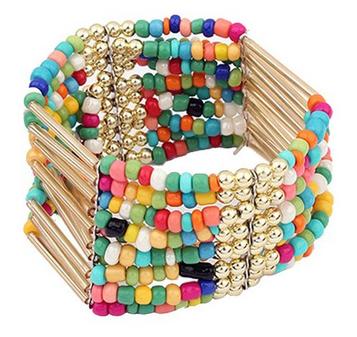 Bohemian Beaded Bangle Bracelet