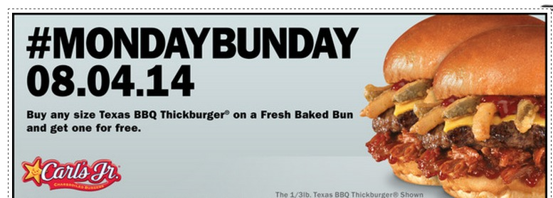 Carls Jr or Hardees: Buy 1 Get 1 FREE Texas BBQ Thickburger Coupon!