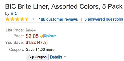 *HOT* Amazon: Bic 5 Pack Colored Highlighters ONLY $1.05 Shipped!