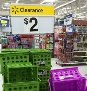 crates 286x300 Colorful Storage Crates Only $2.00 at Walmart