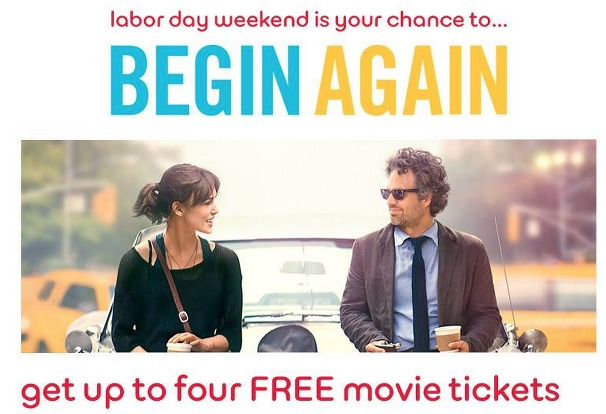 *HOT* 4 FREE Movie Tickets for the Movie Begin Again