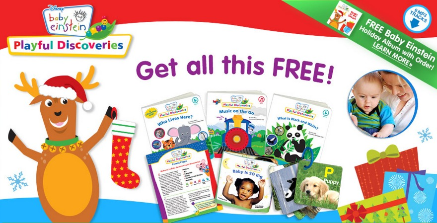 free baby einstein discovery kit  3 board books  1 plush