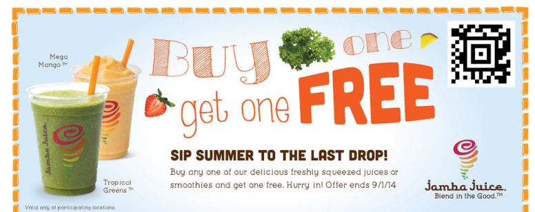 Buy 1 Smoothie or Freshly Squeezed Juice, Get 1 Free coupon!