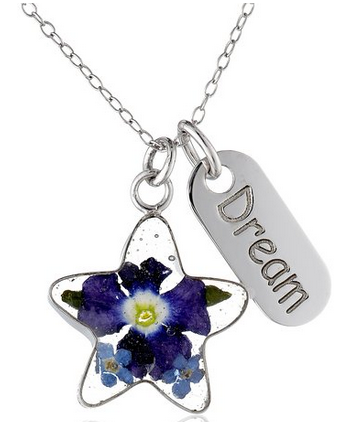 Sterling Silver Pressed Flower Star and Dream Tag Necklace