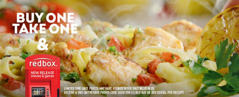 Olive Garden: Buy 1 Entree, Get 1 FREE to Take Home + FREE Redbox Movie Rental!