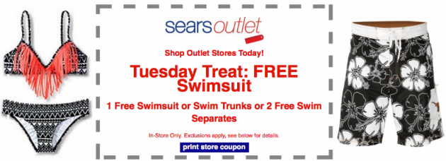 FREE Sears Outlet: FREE Swimsuit, Swim Trunks, or Swim Separates (Today Only)