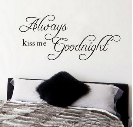 Always Kiss Me Goodnight Quote Decal Removable Art Wall Sticker ONLY $1.88 + FREE Shipping