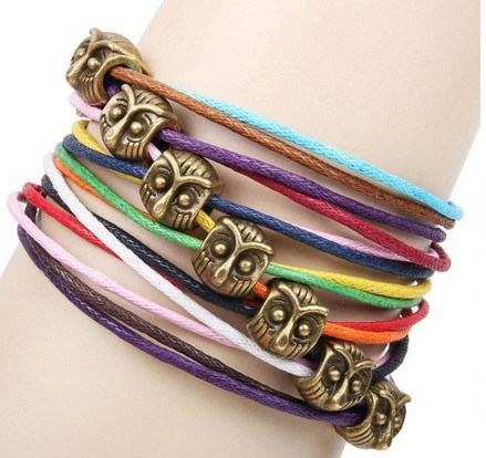 Bronze Owl Colorful Rope Braided Bracelet Only $2.83 + FREE Shipping