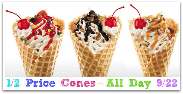 ice Sonic Drive In: 1/2 Price Ice Cream Cones!