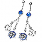 Amazon: 14g Surgical Stainless Steel Rhinestone Navel Dangle Anchor & Helm Ring Only $5.39 Shipped (Reg. $12.99)