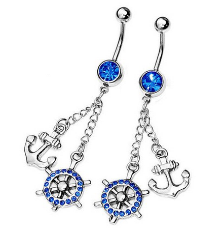 navel Amazon: 14g Surgical Stainless Steel Rhinestone Navel Dangle Anchor & Helm Ring Only $5.39 Shipped (Reg. $12.99)