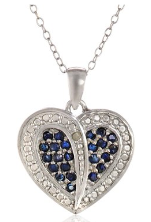 neckace2 Amazon: Sterling Silver Sapphire and Diamond Accent Heart Pendant Necklace Only $13.83 (Reg. $79)