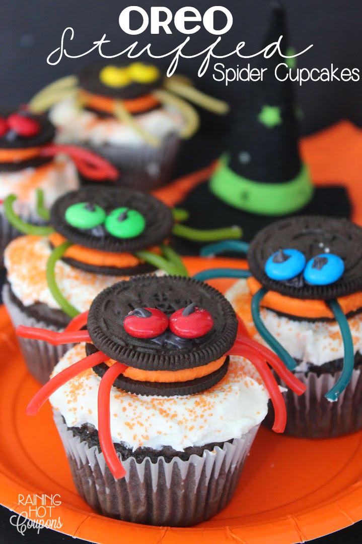 oreo stuffed spider cupcakes