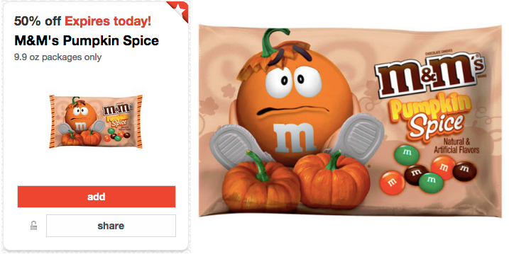 M *HOT* M&Ms Pumpkin Spice Large Packages ONLY $0.45!