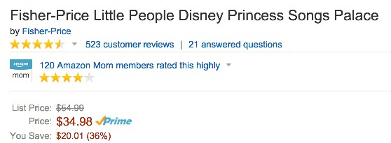 *HOT* Fisher Price Little People Disney Princess Songs Palace Only $2.99 (Reg. $54.99!)