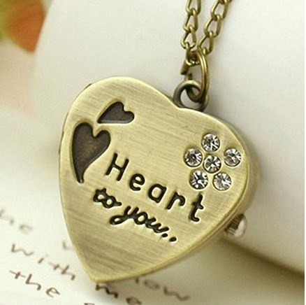 Heart Gold Pendant Pocket Watch Necklace with Diamand Chain Only $4.43 + FREE shipping
