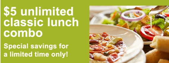 Olive Garden: Unlimited Soup, Salad and Breadsticks Lunch Combo all for just $5!