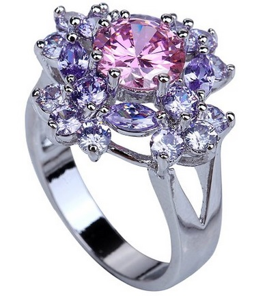 ring2 Amazon: Flower 9*9mm Round Cut Pink Light Purple Created Topaz Tourmaline Silver Plated Size 10 Ring Only $5.85 Shipped (Reg. $22.16)