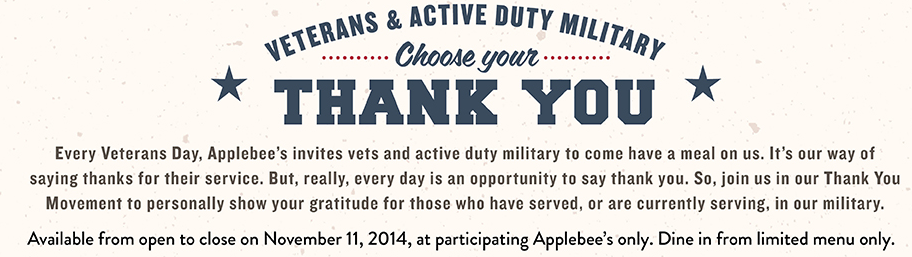 1 2014 Veteran's Day FREE Meals and Discounts (HUGE LIST!)