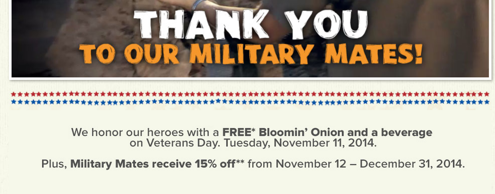 8 2014 Veteran's Day FREE Meals and Discounts (HUGE LIST!)