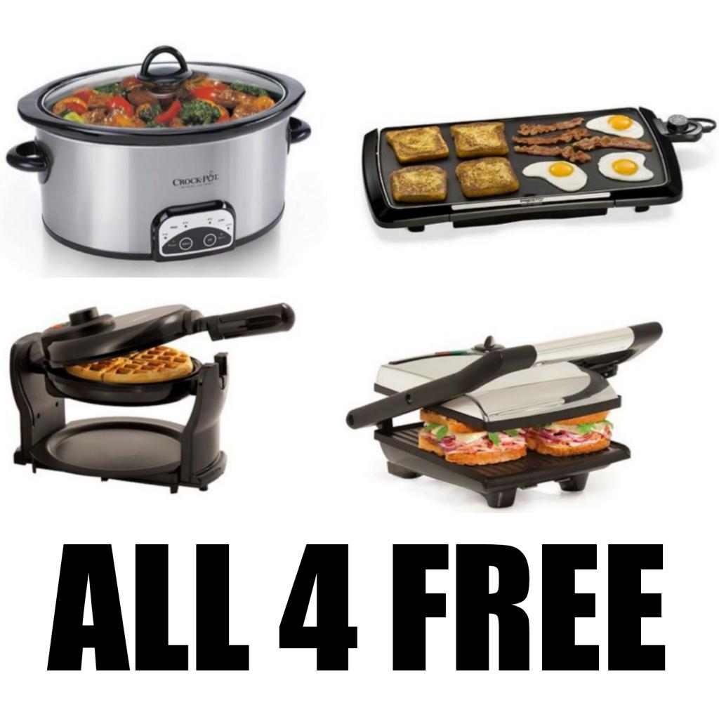 FREE2 1024x1024 *HOT* FREE Crock Pot, Waffle Maker, Panini Maker, Electric Griddle + FREE Shipping!