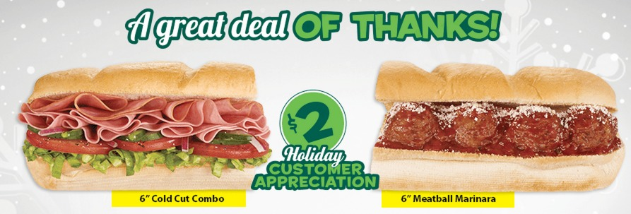 Subway: $2 for a 6 Sub (Cold Cuts Combo or Meatball!)