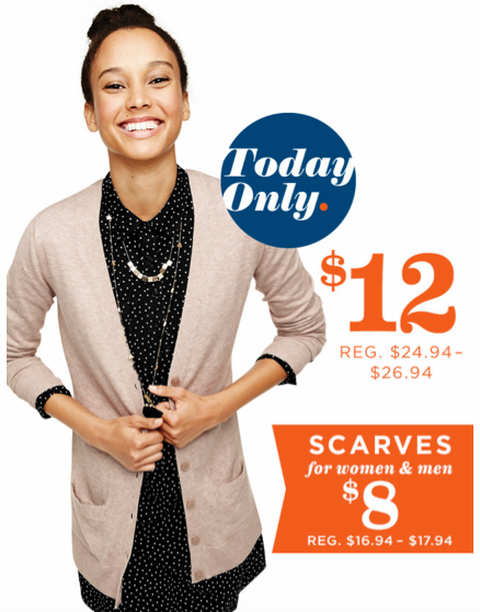 screen shot 2014 11 11 at 8 51 11 am *HOT* $12 Cardigans & $8 Scarves at Old Navy (Today Only)