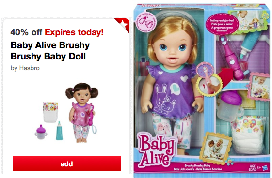 target2 *HOT* Baby Alive Brushy Brushy Baby Doll Only $10.79 at Target (TODAY ONLY!)